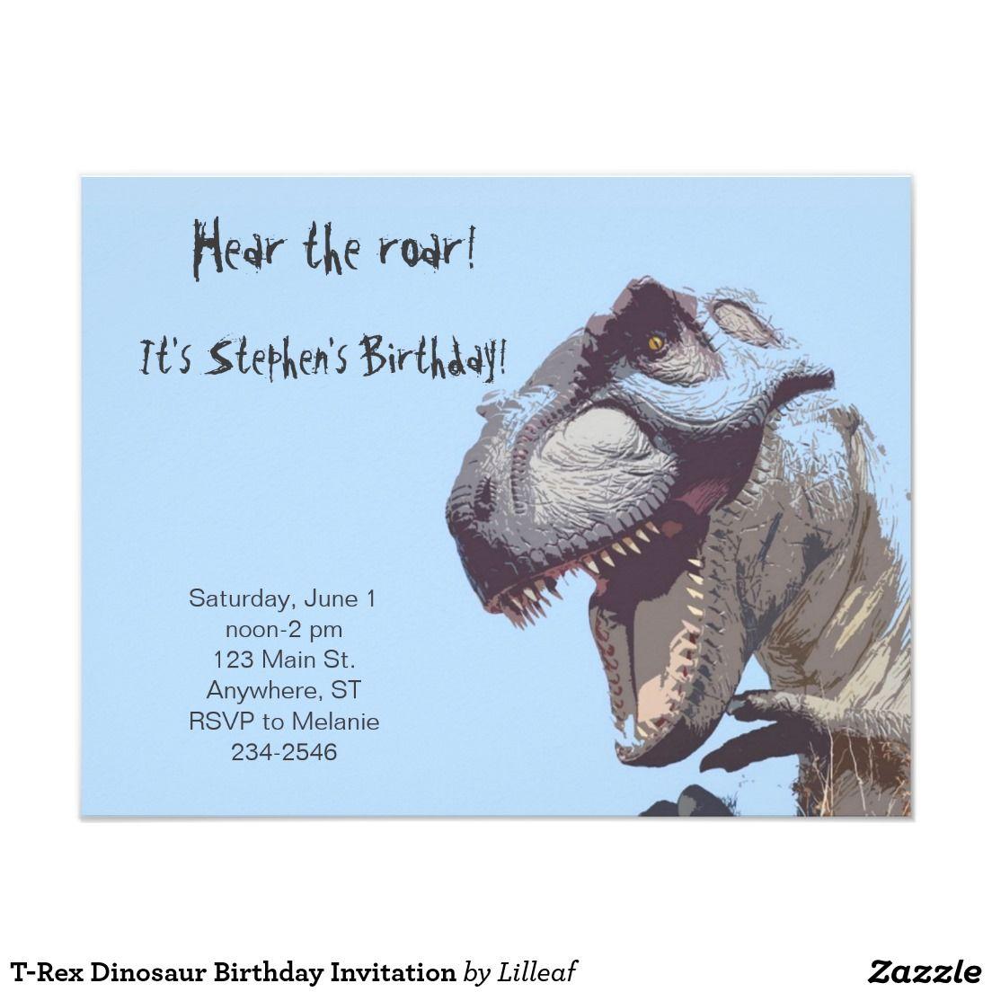 invitation d 39 anniversaire de dinosaure de t rex zazzle. Black Bedroom Furniture Sets. Home Design Ideas