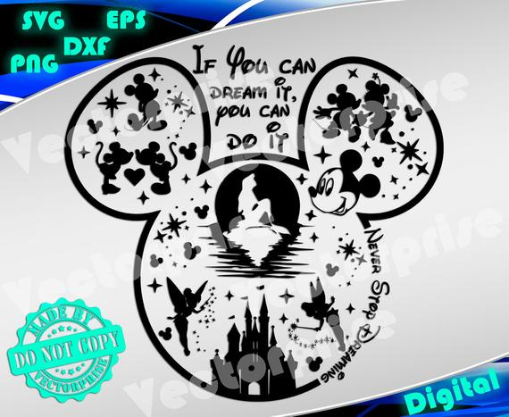 Disney svg Mickey head svg Mickey mouse svg silhouette