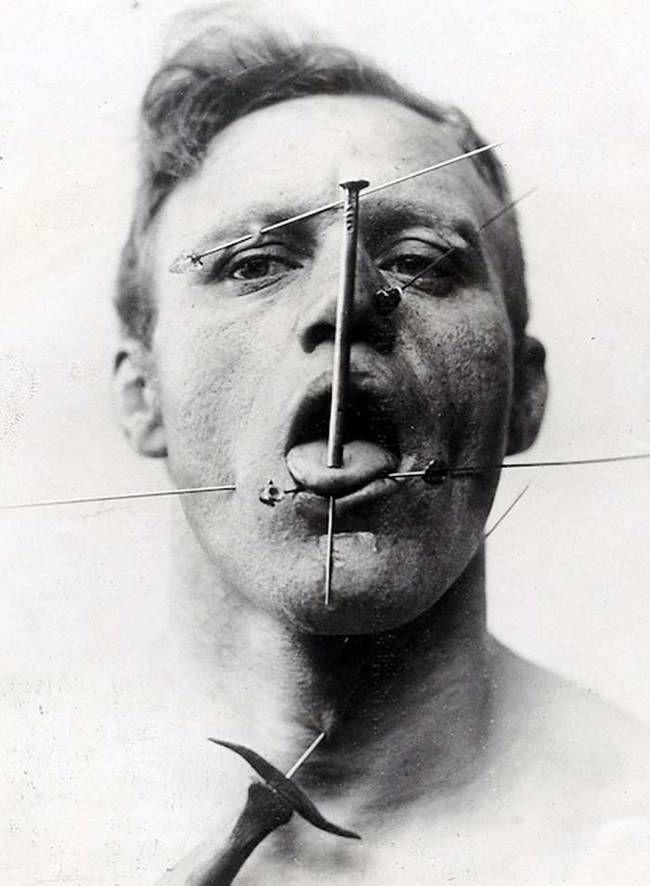 The pierced man.
