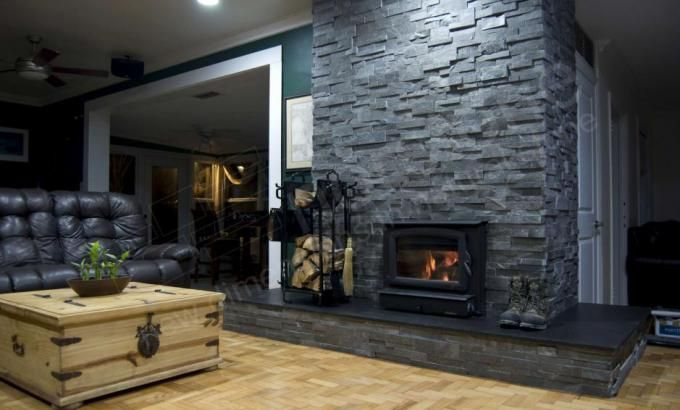 Interior Stone Cladding - with Norstone Charcoal Rock Panels ...