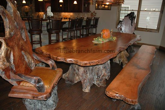 Natural Wood Dining Tables With Burl Wood Chairs Crafted