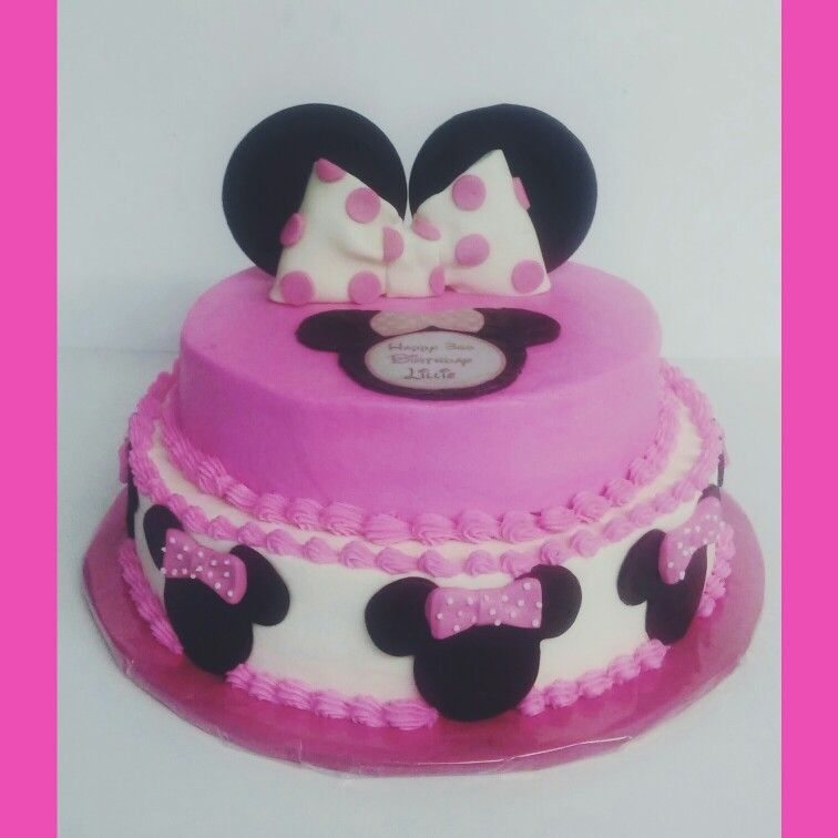 Single Layer Tiered Minnie Mouse Cake Minnie Mouse Birthday Cakes Party Cakes Girl Cakes