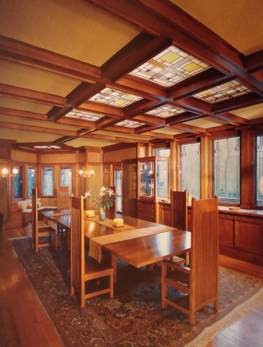 Frank lloyd wright 1867 1959 dining room ward w willits house highland park illinois Frank lloyd wright the rooms interiors and decorative arts