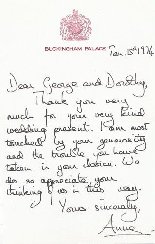 Princess Anne Thank You Letter For Wedding Gift British Royalty
