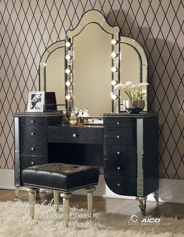 Lighted Vanity Aico Hollywood S With Bench Set 3 Piece In Crystal Croc By Michael Amini