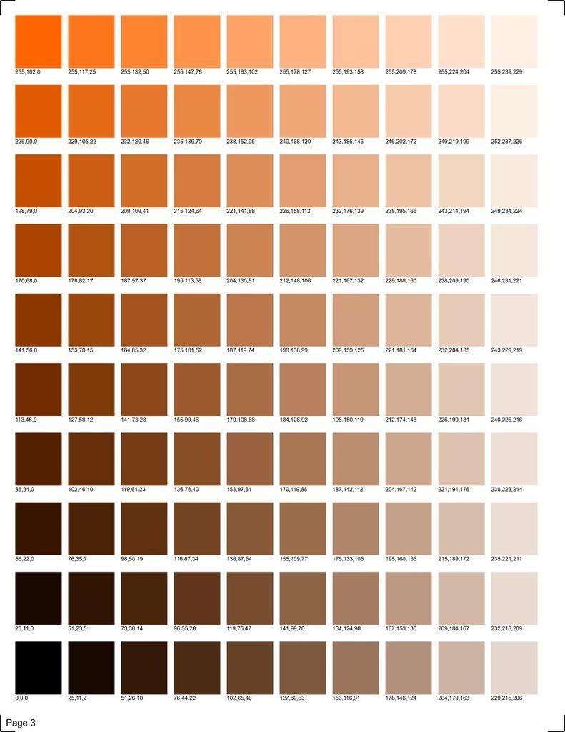 Km Designs Rgb Color Chart Skin Color Palette Rgb Color Codes Pantone Color Chart
