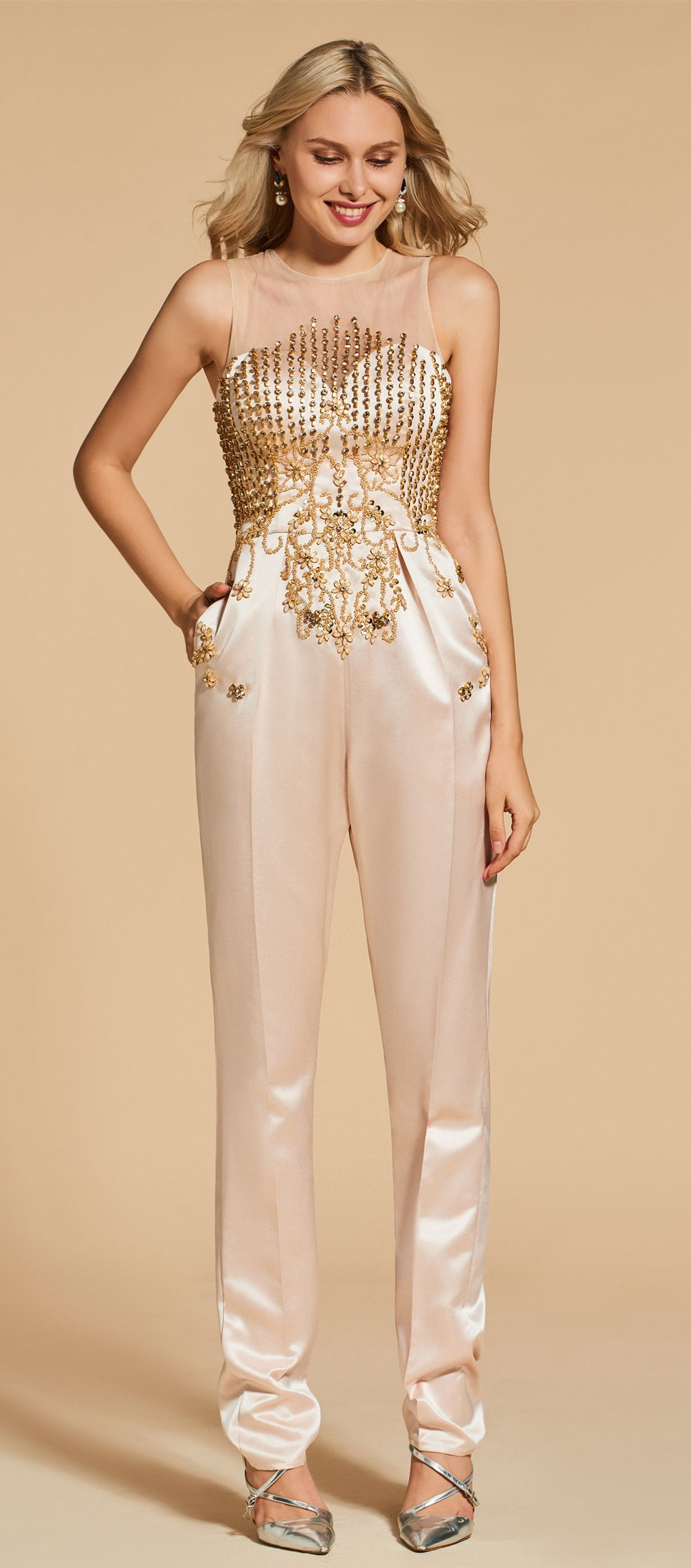 4ade2cecd2b1 Beading Button Sheath Scoop Evening Jumpsuits