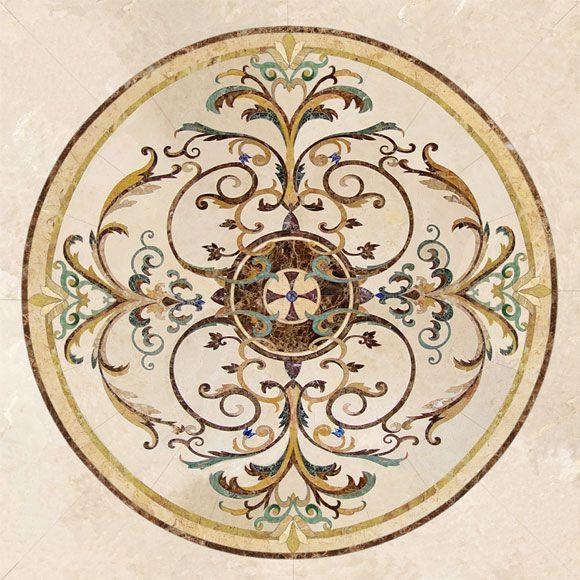 Natural Flower Pattern Waterjet Design Marble Floor | Trang Trí, Hoa, Gạch