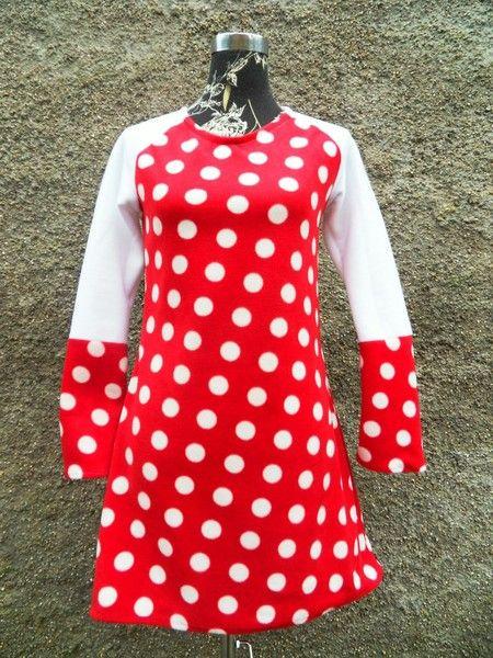 Kleid Tunika Hänger Punkte Dots Fleece rot weiß von ...