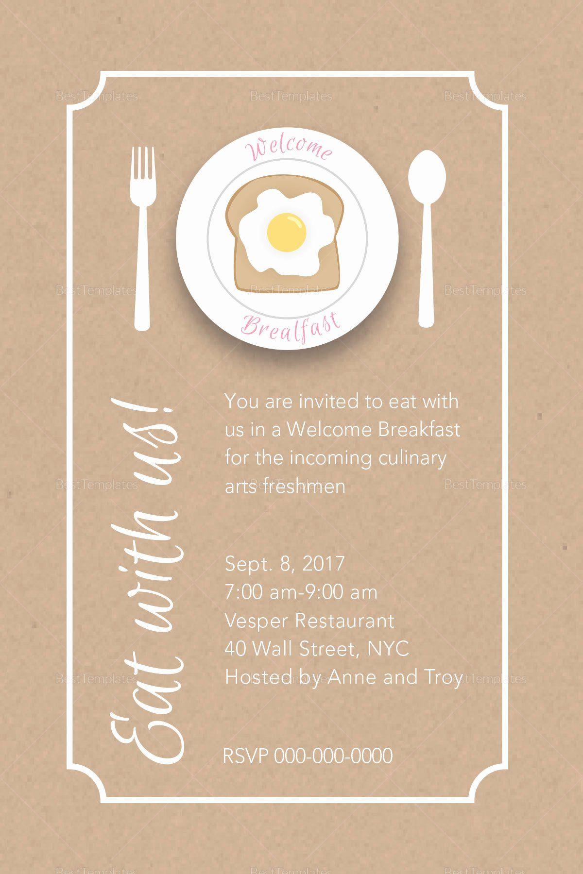 Free Breakfast Invitation Template Beautiful Freshmen Wel E Break