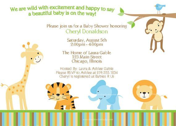 Jungle Baby Shower Invitation Safari Zoo Animals