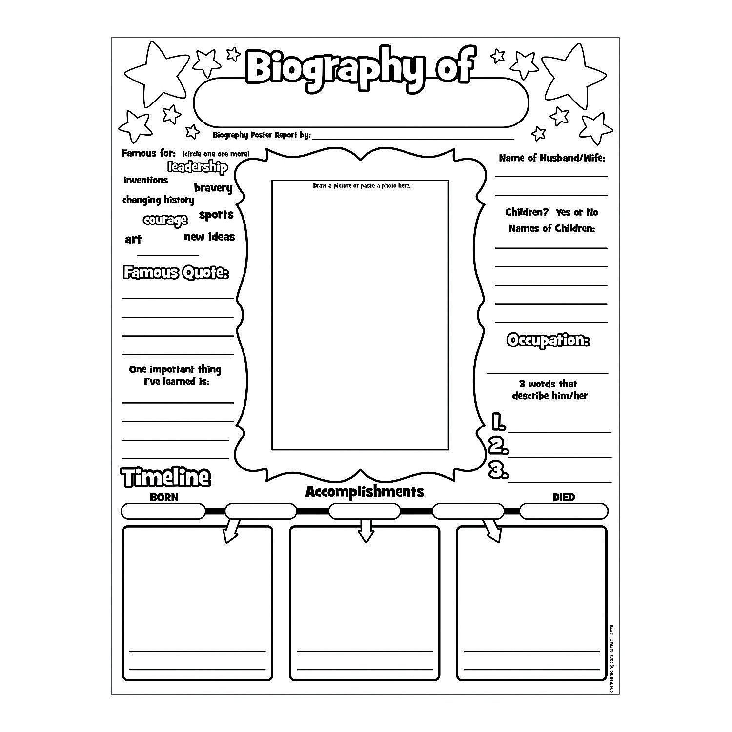 Color Your Own All About A Biography Posters