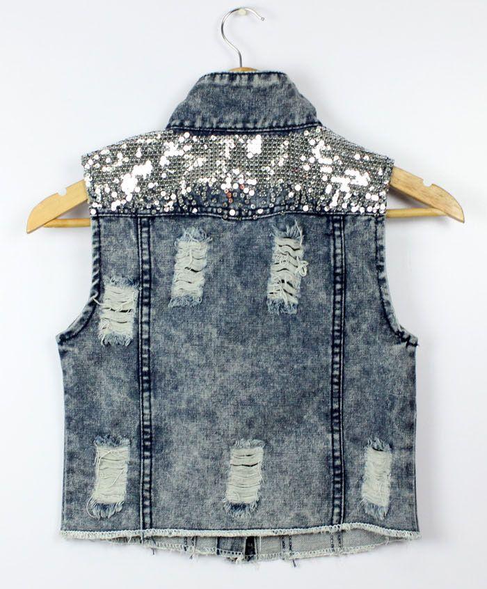 Para mujer Turn Down Collar Frayed Cardigans personalizados Denim Gilet  bolas lentejuelas Paillette Punk cadena Jeans cortos chaleco chaqueta Top  en ... 5ada1710fdd4