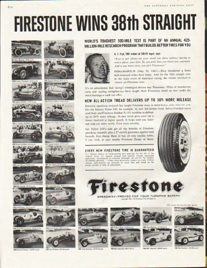 "1961 FIRESTONE TIRES vintage magazine advertisement ""race at Indianapolis"" ~ Firestone wins 38th straight race at Indianapolis - World's toughest 500-mile test is part of an annual 425-million-mile research program that builds better tires for you ..."