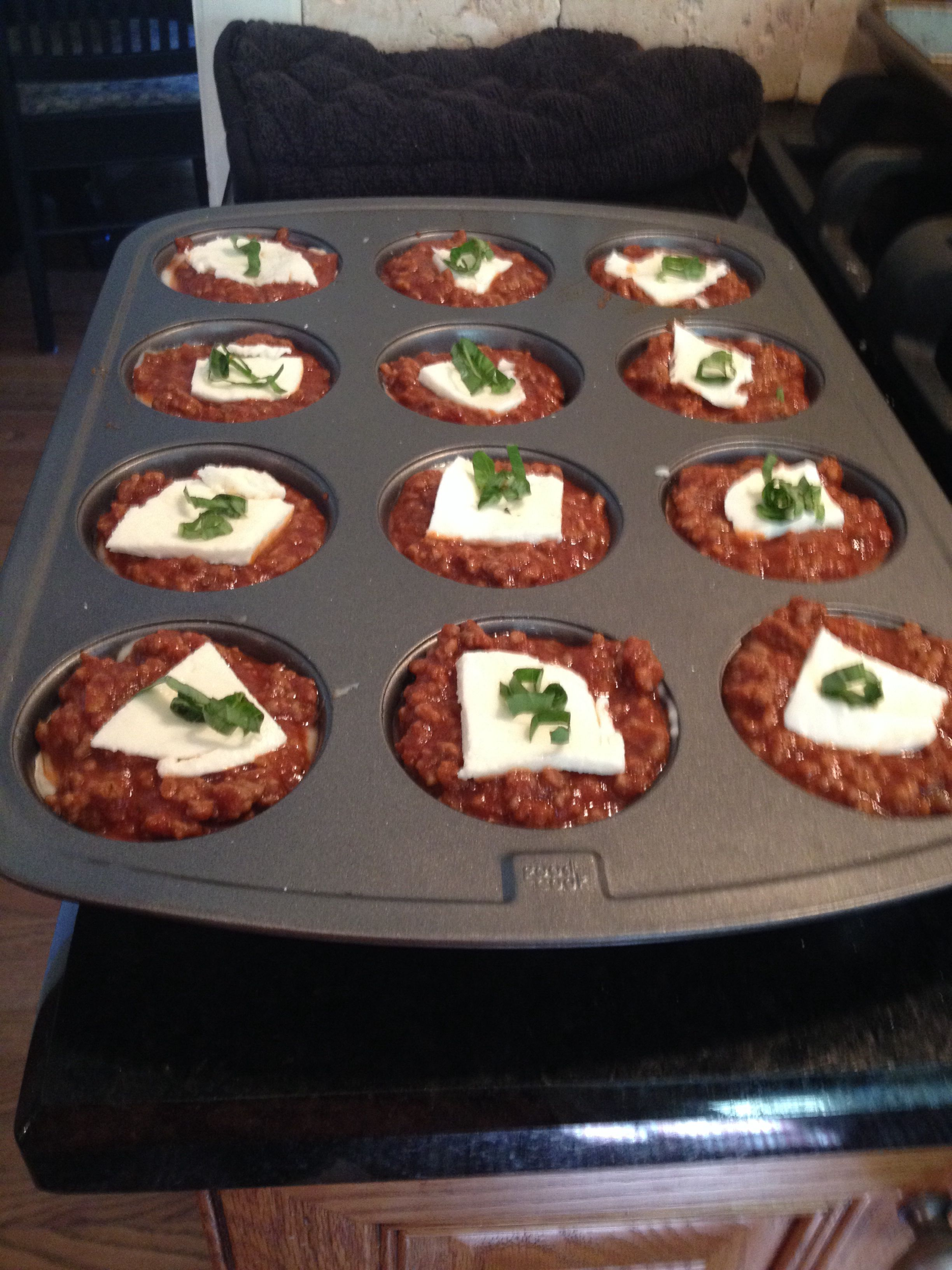 Lasagna Cupcakes! Use wanton wrappers instead of noodles.