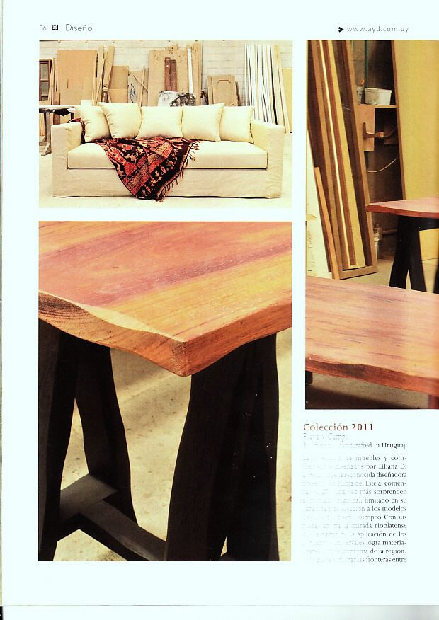 Sofá tapizado en lino   mesas madera   hecho a mano en Uruguay