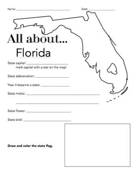 florida state facts worksheet elementary version worksheets students and learning. Black Bedroom Furniture Sets. Home Design Ideas