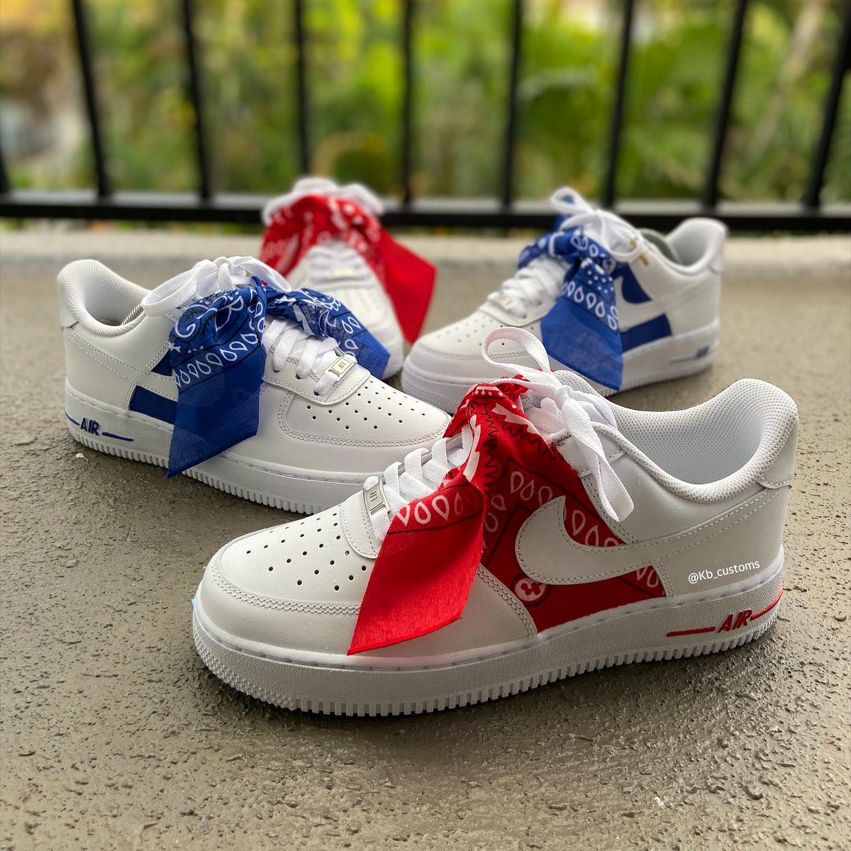 Custom Blue Bandana Air Force 1s Custom Sneakers, Air