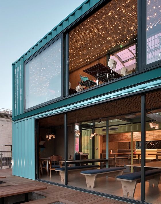 The wahaca southbank experiment softroom architects uk two storey temporary restaurant - Wahaca shipping container restaurant ...