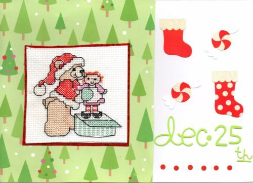 Christmas Cute Character Cross Stitch Cards - Handmade - Teddy, Elf