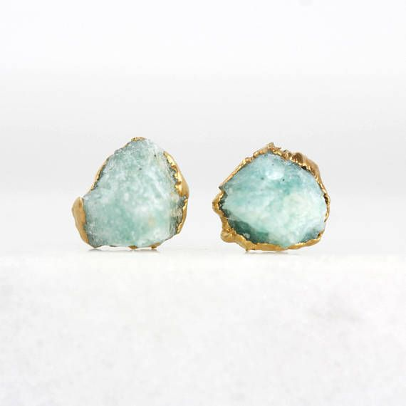 Amazonite Studs Raw Amazonite Earrings Jade Studs Turquoise