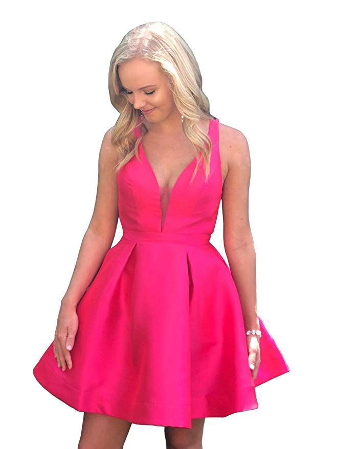 59bf225ec41 Dressylady Charming Short A Line Backless Satin Prom Homecoming Party Dress  at Amazon Women s Clothing store