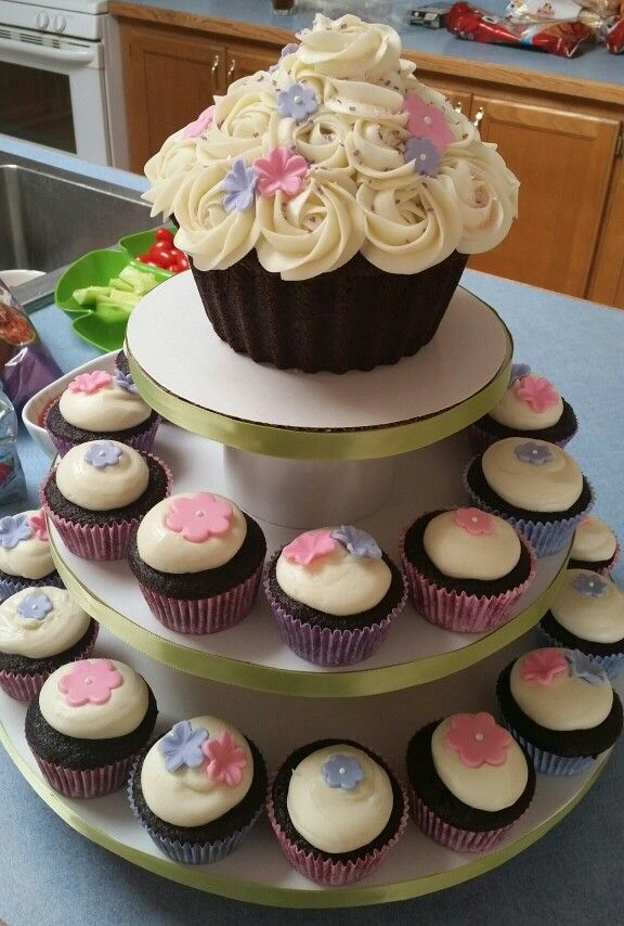 Giant Cupcake With Pink And Purple Marshmallow Fondant