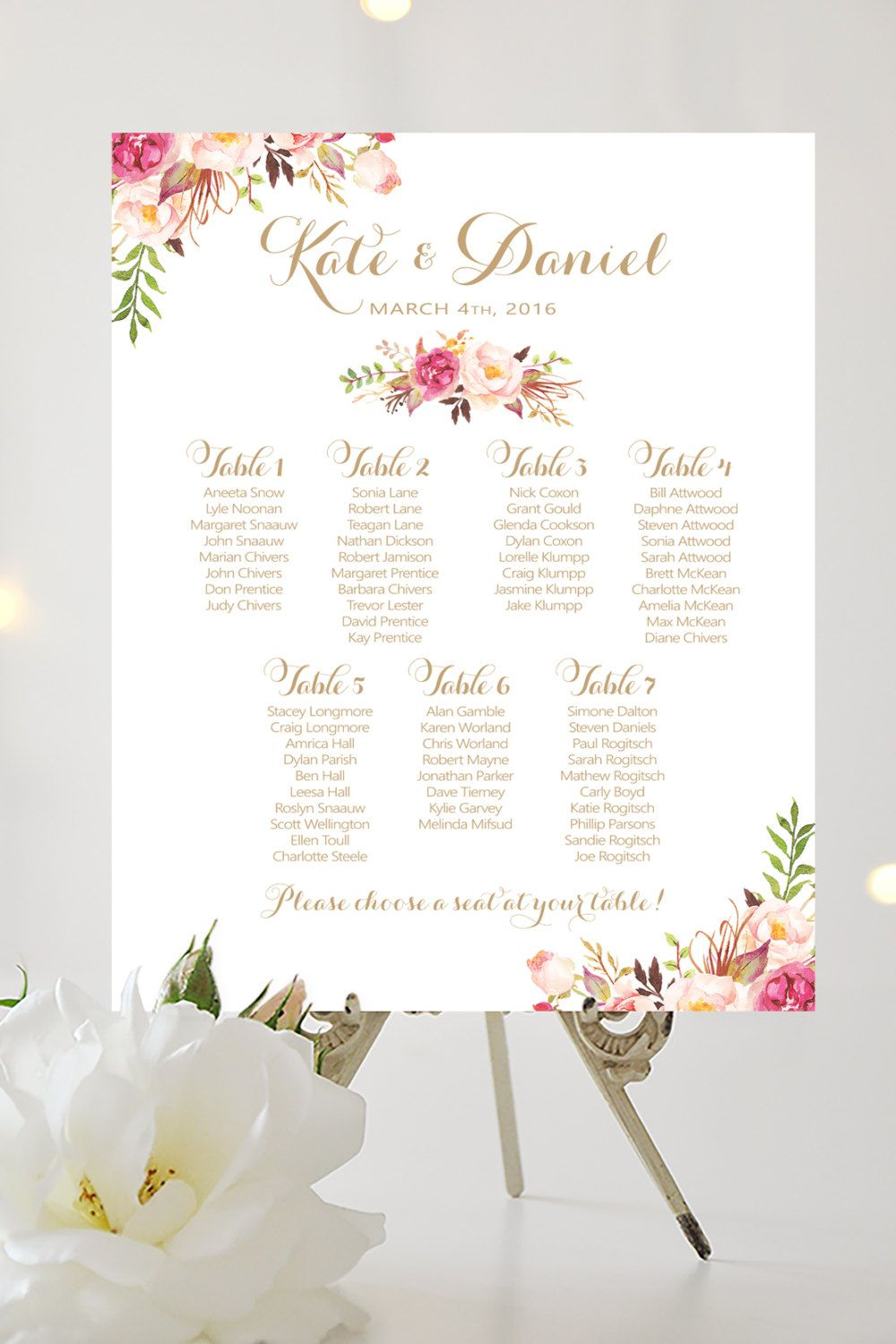 Wedding Seating Chart By Table Various Sizes Vintage
