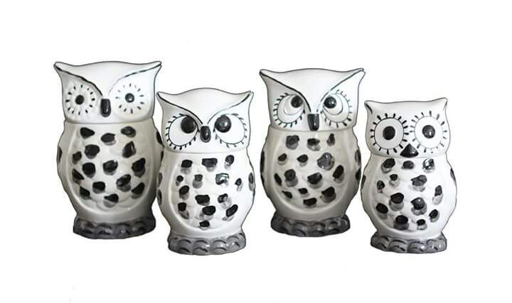 White Owls, Canister Sets, Canisters, Kitchen Storage, Tuscany, Personal  Care, Black And White