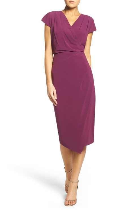 Chelsea28 Faux Wrap Jersey Midi Dress