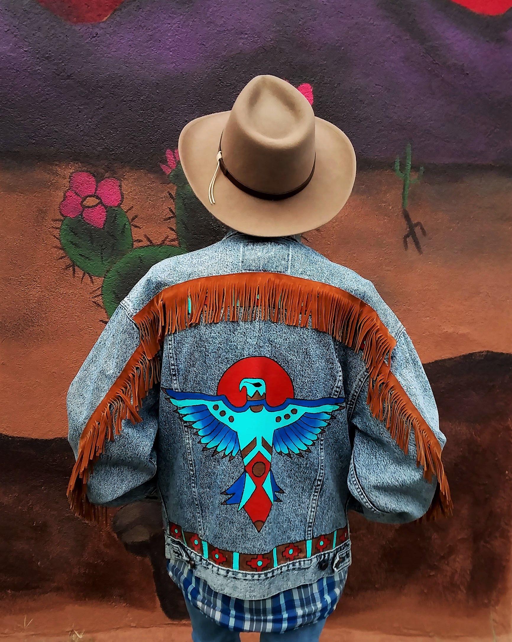 Hand Painted Southwest Thunderbird On Vintage Levi S Denim Jean Jacket By Bleudoor On Instagram Painted Denim Painted Jacket Embellished Jacket [ 2172 x 1732 Pixel ]