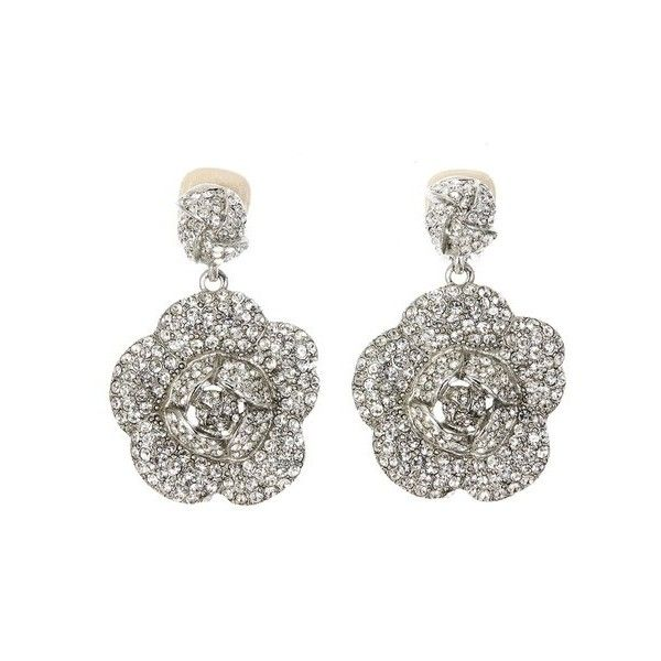 a2a8ee5935d Oscar de la Renta Gardenia Pavé Drop Earrings ($550) ❤ liked on Polyvore  featuring