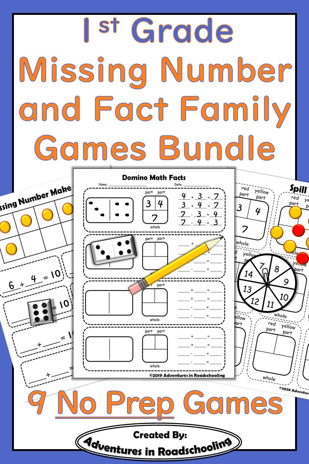 First Grade Missing Number Problem And Fact Families Games Bundle Fact Family Games Fact Families Math Fact Practice Missing number problems addition and