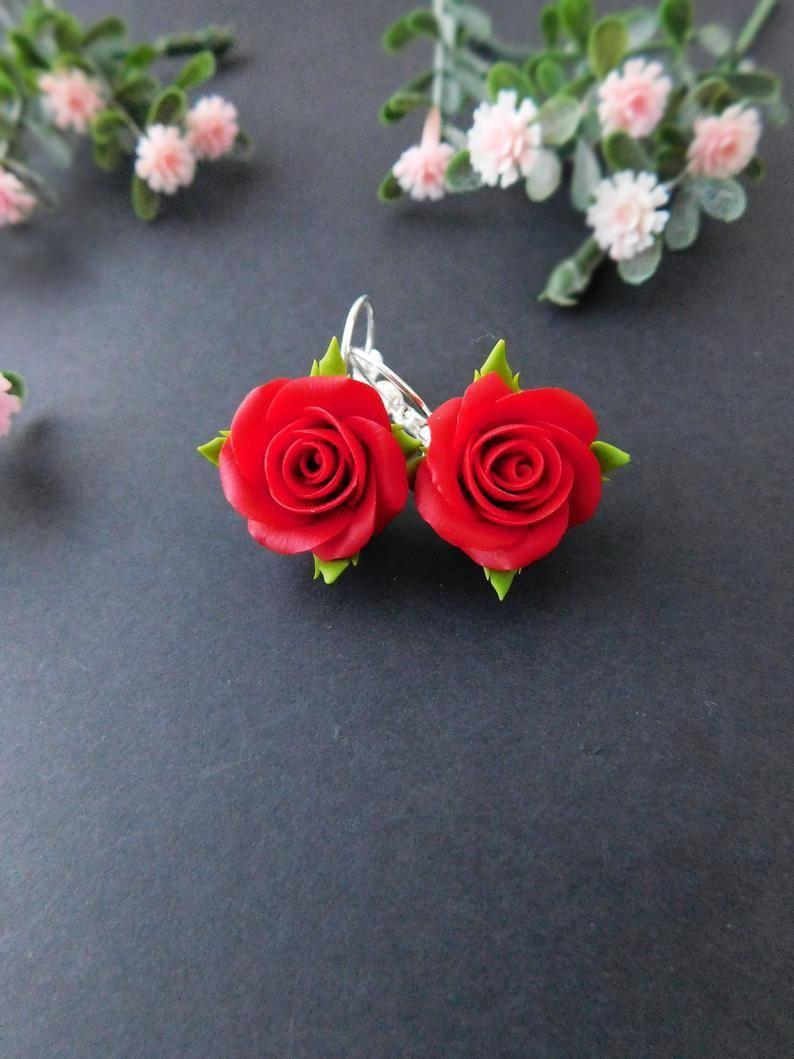 Red roses flower earrings pink jewelry dangle earrings jewelry Floral earrings romantic gift for fashionable women fimo earringsdangle