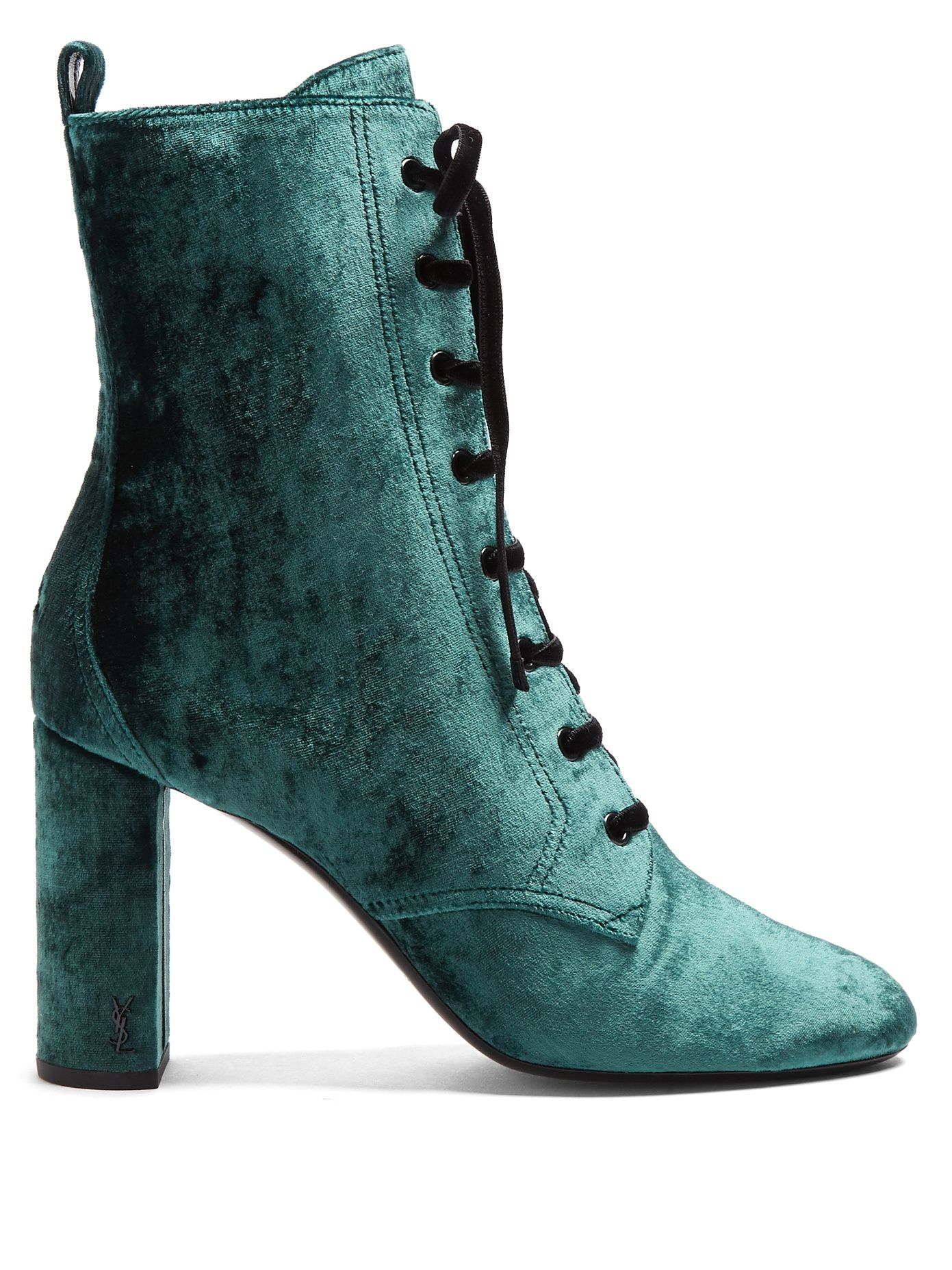 Saint Laurent Loulou lace-up crushed-velvet ankle boots Discount Exclusive OpGvIFiGim