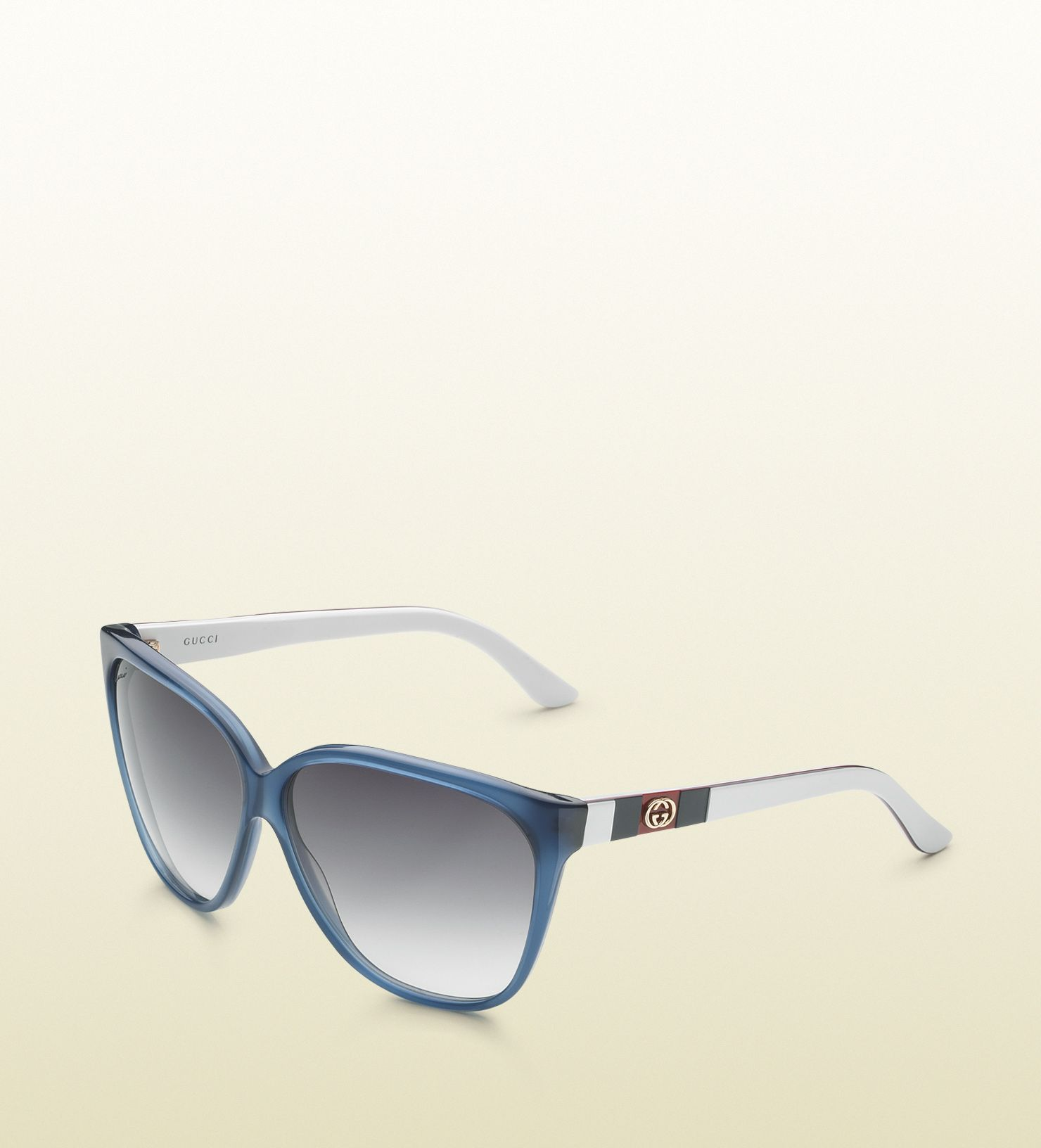 ccb96ac5a77d Gucci - large square frame sunglasses with GG logo and web on temples.  298606J07404179