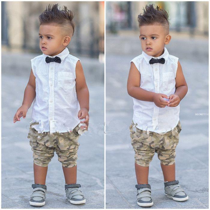 ... mangas tapas blancas con corbata + niños de los cortocircuitos de la  ropa de moda superior del niño varón hermoso twinset camuflaje jeans en  Conjuntos ... eb973f52cc658