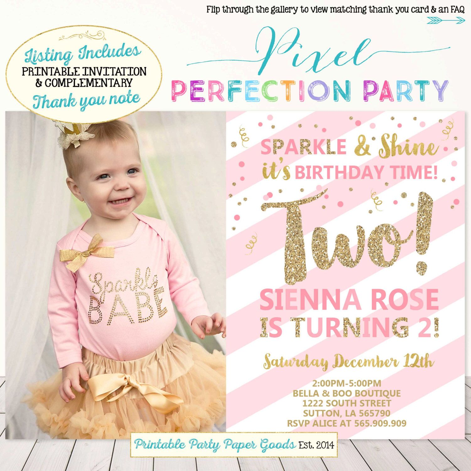 Girls Second Birthday Invitation Pink And Gold 2nd Party