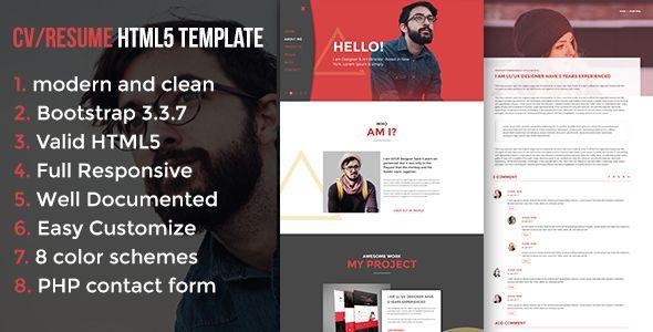 modern cv resume html5 template