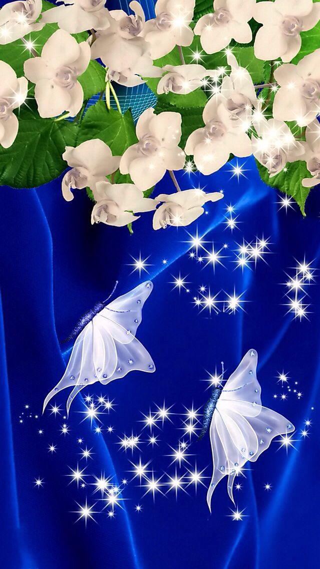 Blue And White Flowers And Butterfly Butterfly Wallpaper