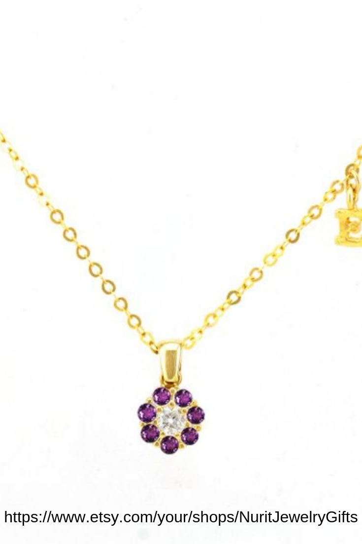 GIFTS FOR HER Purple Flowers Silver Necklace Pendant Women MOTHERS DAY PRESENT