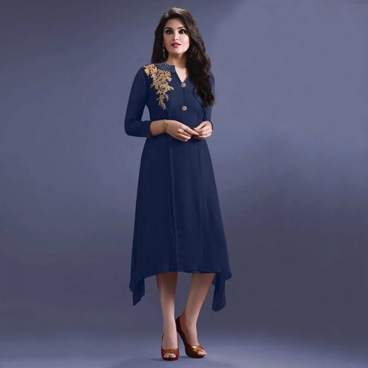 Buy Navy Blue V Neck Embroidered Kurti for womens online India, Best Prices,  Reviews