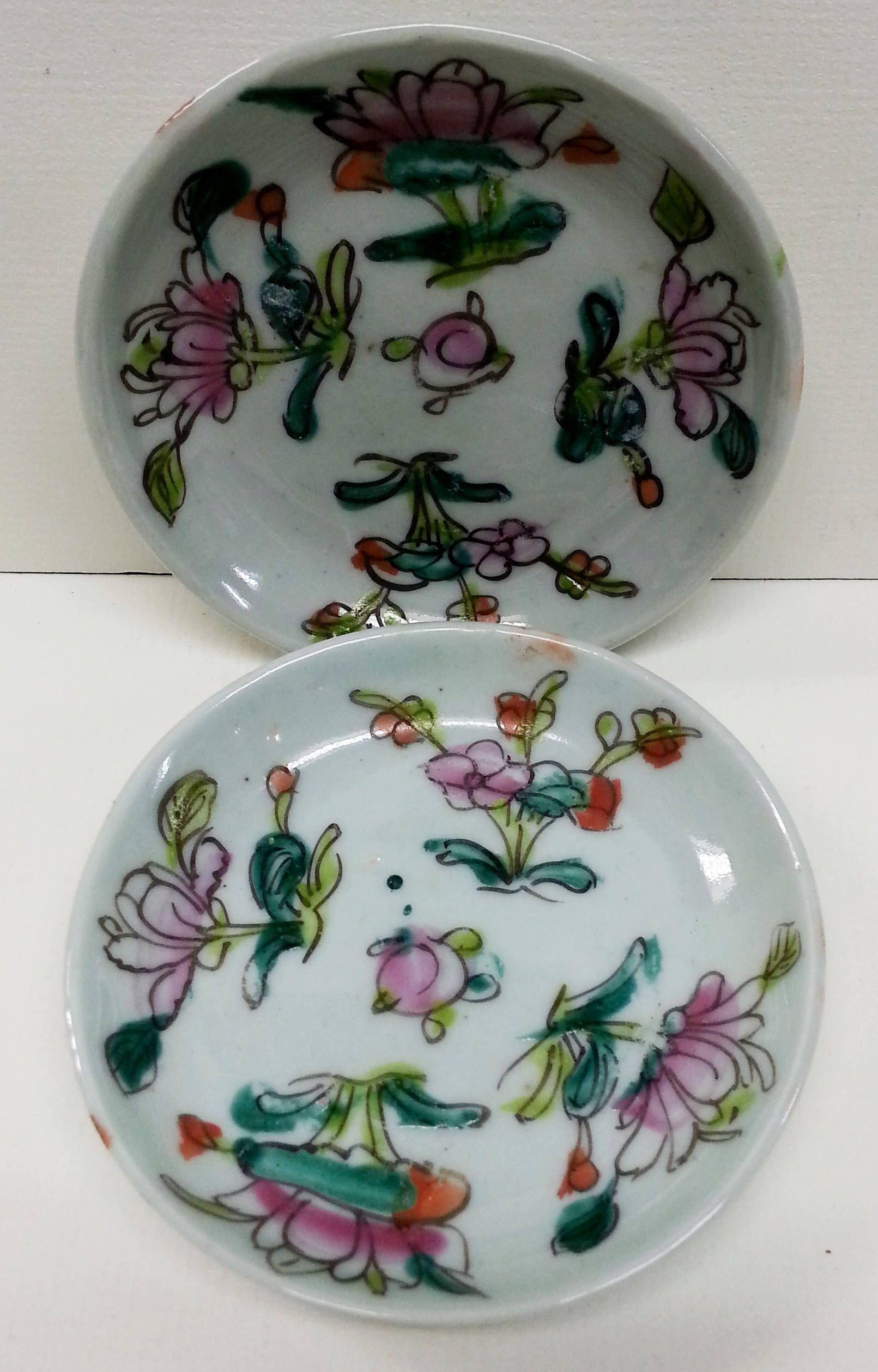 Asian Lotus Flower Porcelain Coaster Set 2 Vintage Tea Bag