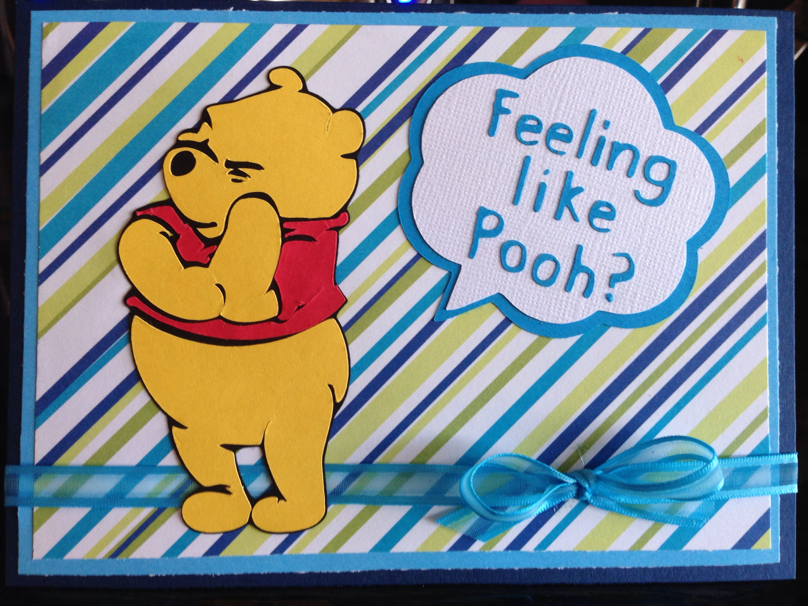 Color your card get well - Get Well Winnie The Pooh Cricut Card