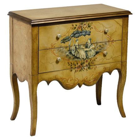 Two-drawer wood chest with a scalloped apron and painted toile