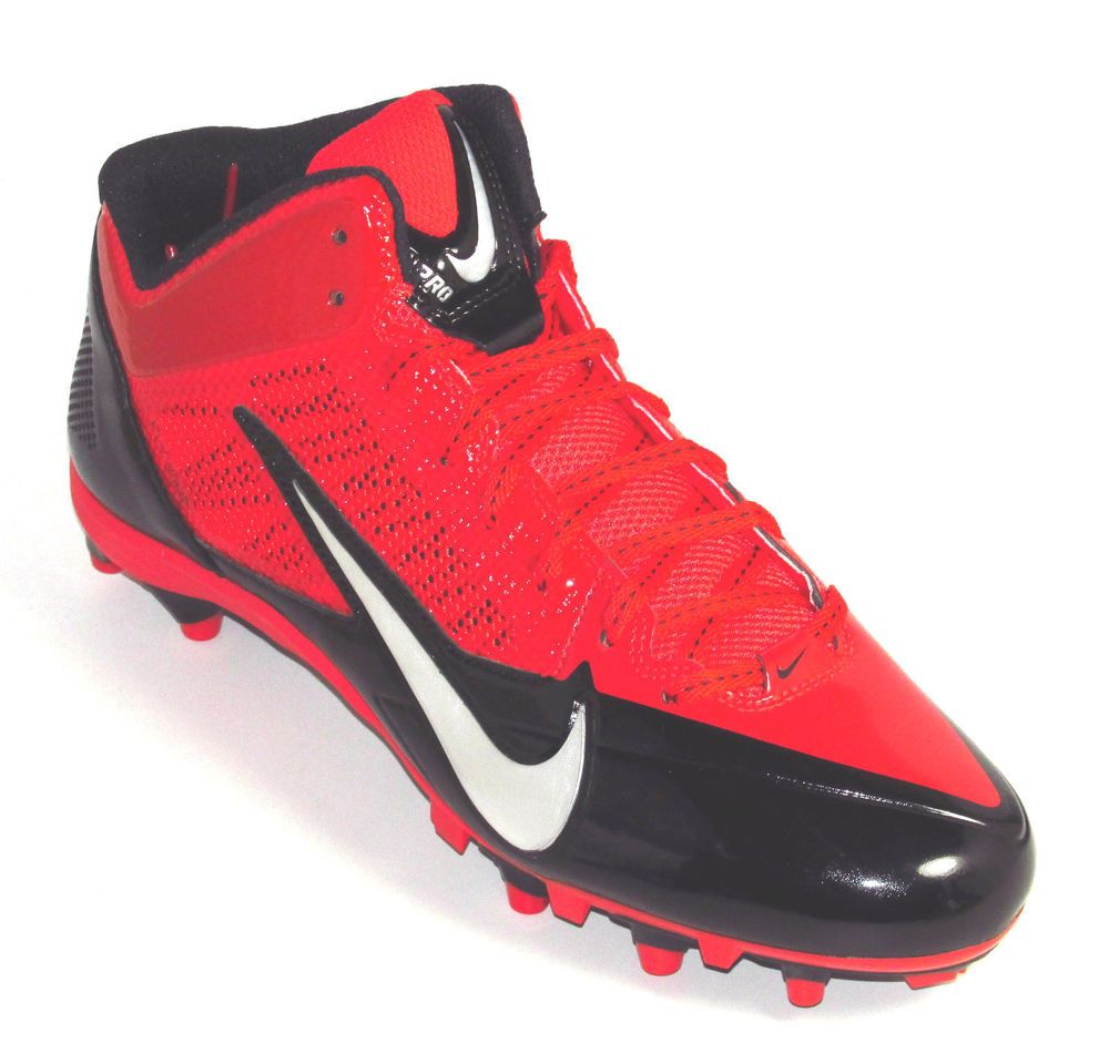 52527f5be3bb Nike Alpha Pro 3 4 TD Molded Football Lacrosse Cleats Red Black Silver  Nike   34TDMoldedCleats