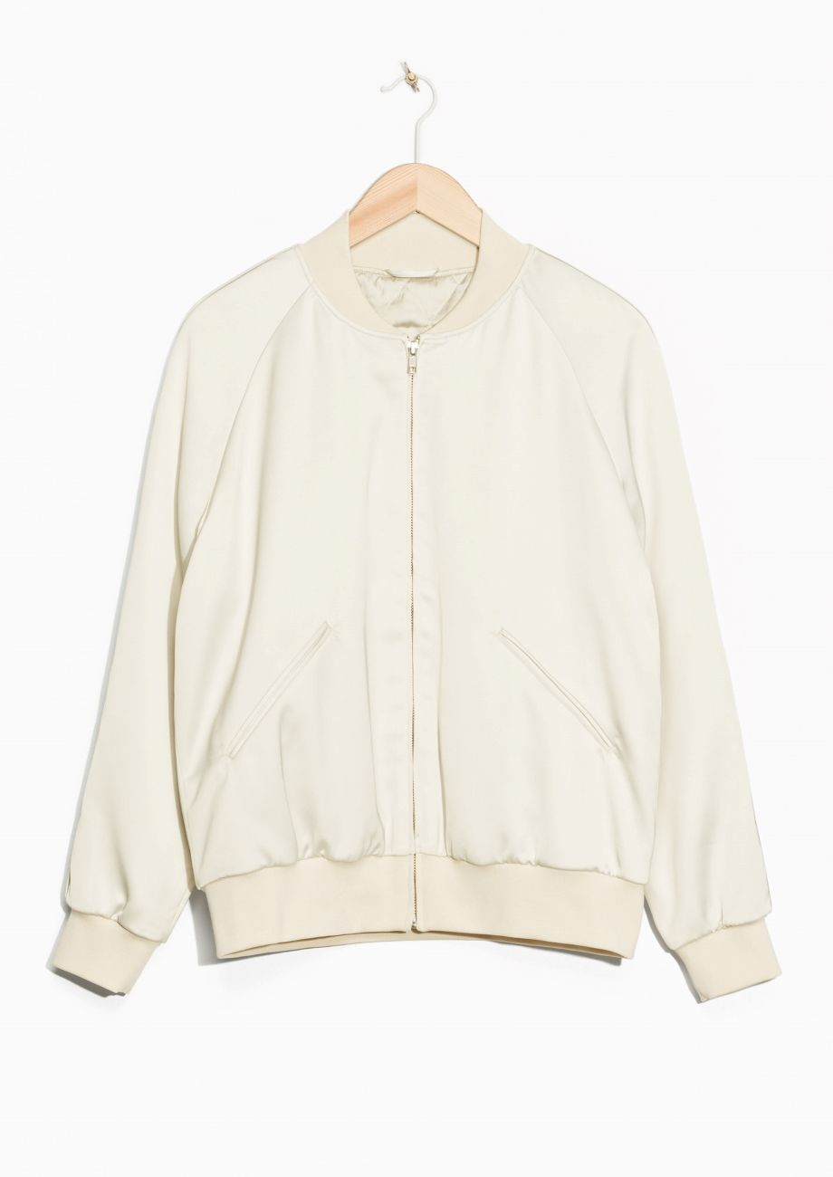 Other Stories Image 1 Of Luminous Satin Bomber Jacket In Off White Coats Jackets Women Street Style Women Satin Bomber Jacket [ 1300 x 920 Pixel ]