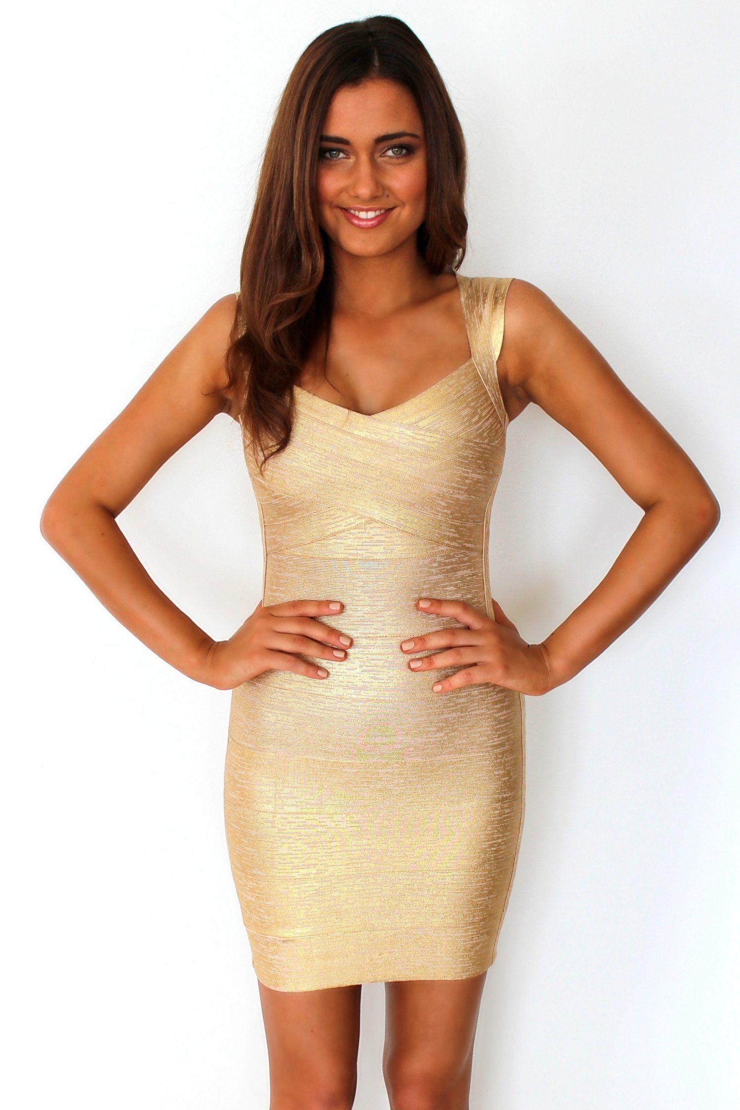 Gold Metallic Foil Open Back Bandage Dress | SEXY FASHION DRESS ...