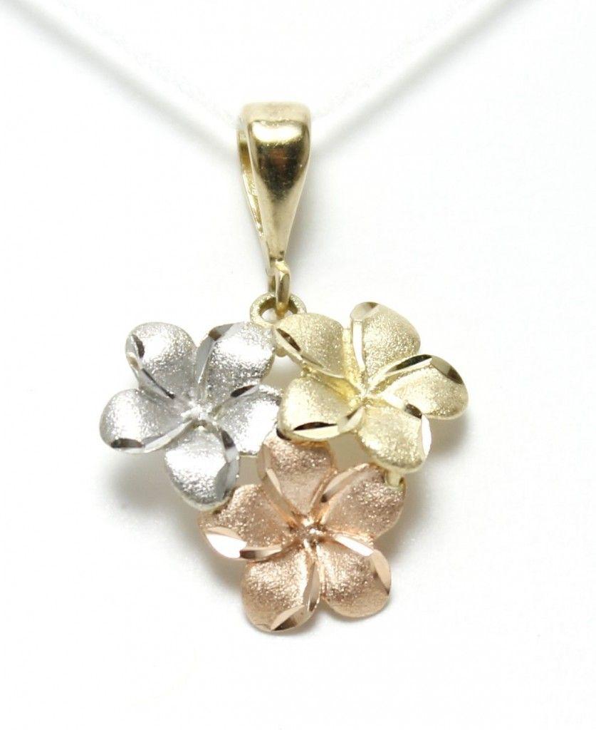 c85be63ea5893 Plumeria 14k gold tri color bunch | Honolulu Gold & Silver ...