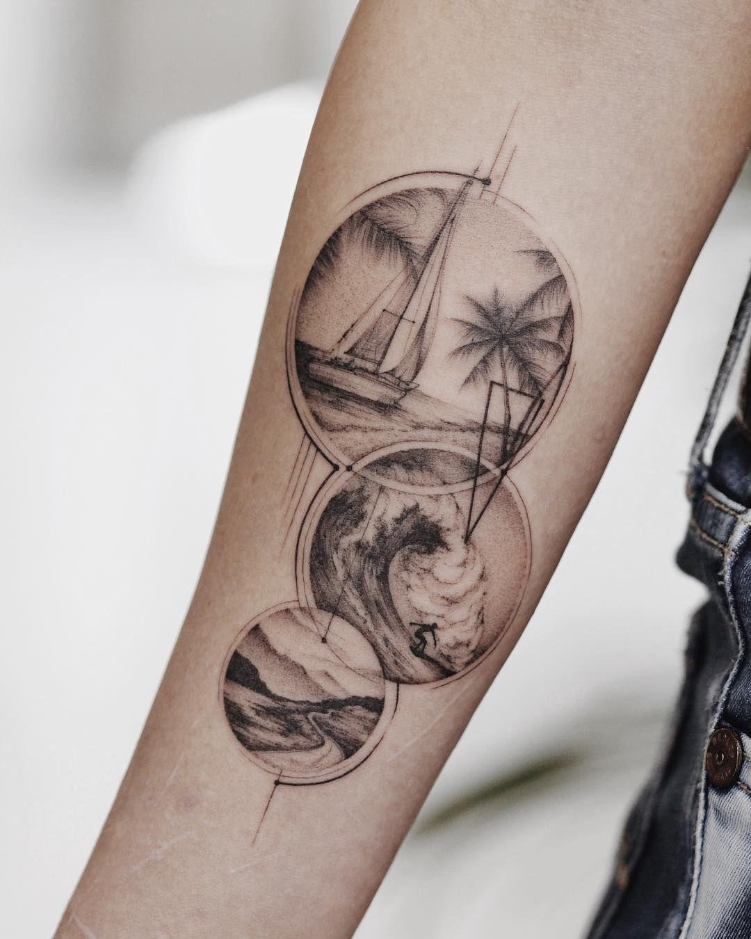 татуировка путешествия идеи для татуировки Tattoo Linework